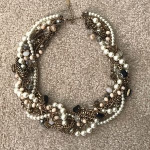 Aldo Pearl & Mixed Metal Statement Necklace